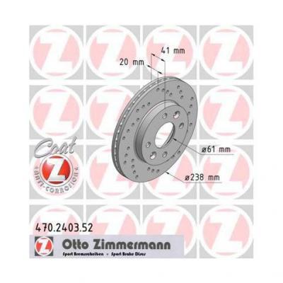 Disques de frein avants percés Zimmermann Gtt / R11T